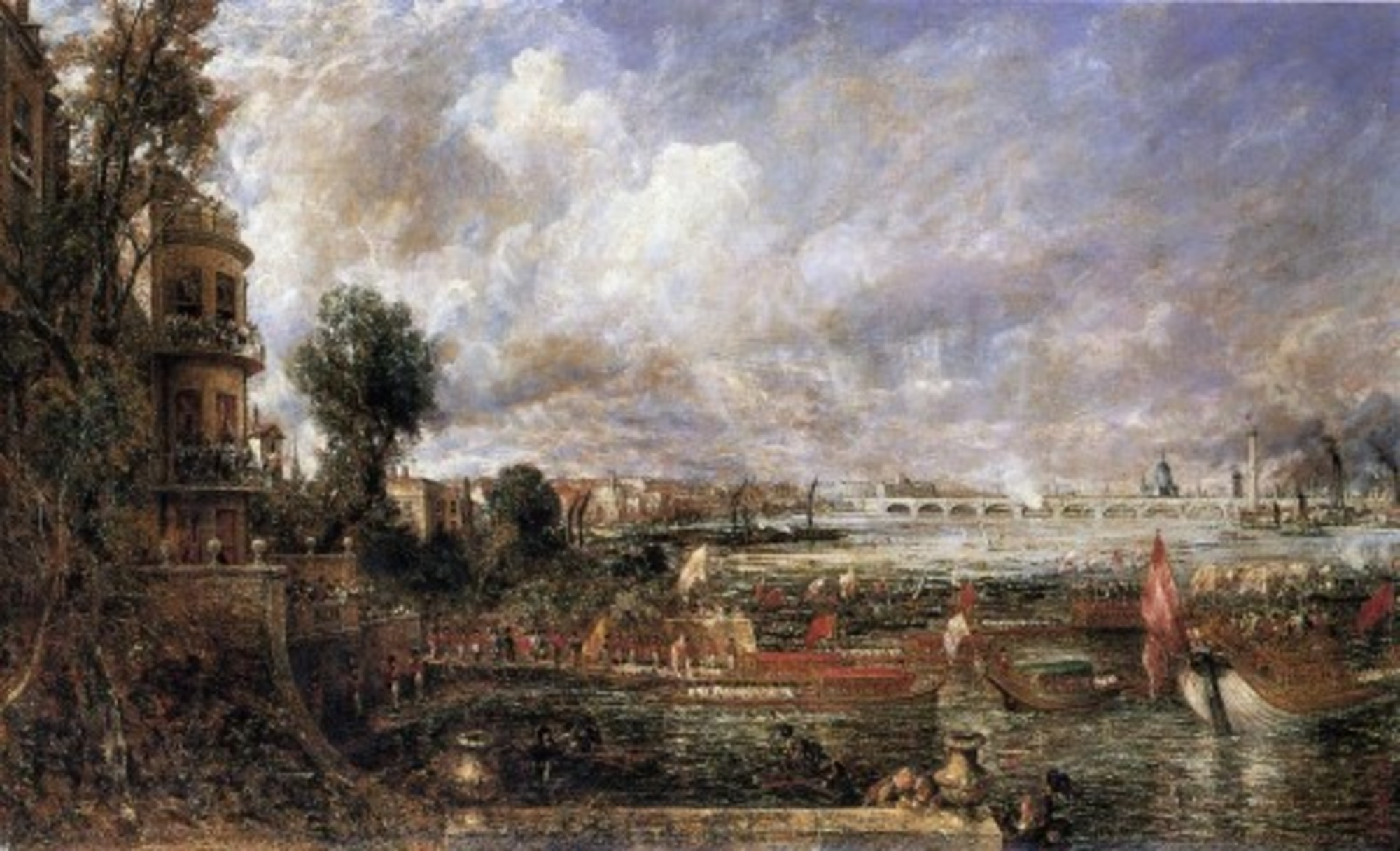 The Opening of Waterloo Bridge seen from Whitehall Stairs John Constable