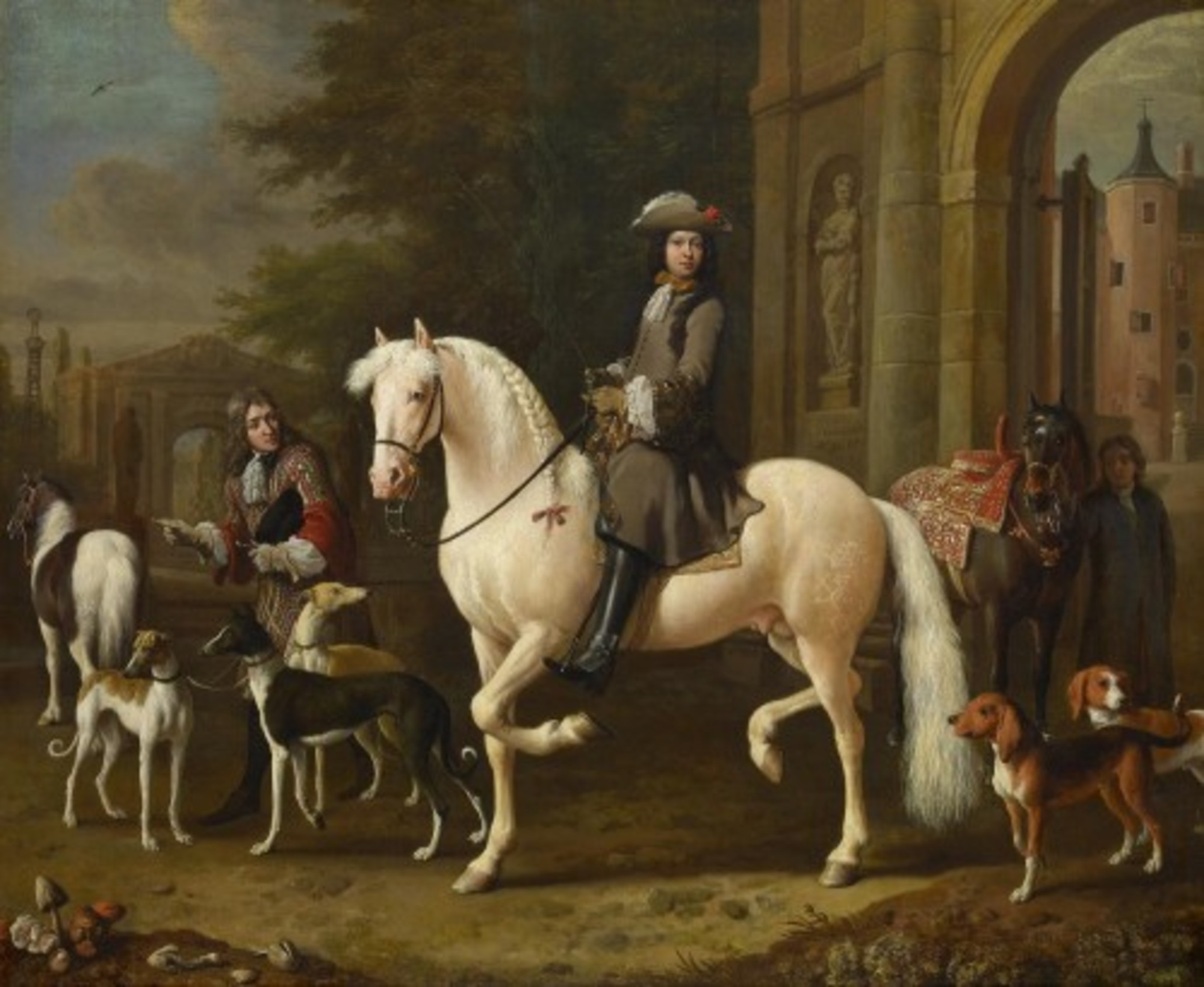 Melchior-dHondecoeter---Johan-Ortt-1642-1701-on-Horseback-outside-the-Gate-of-Nijenrode-RCIN-405956.jpg