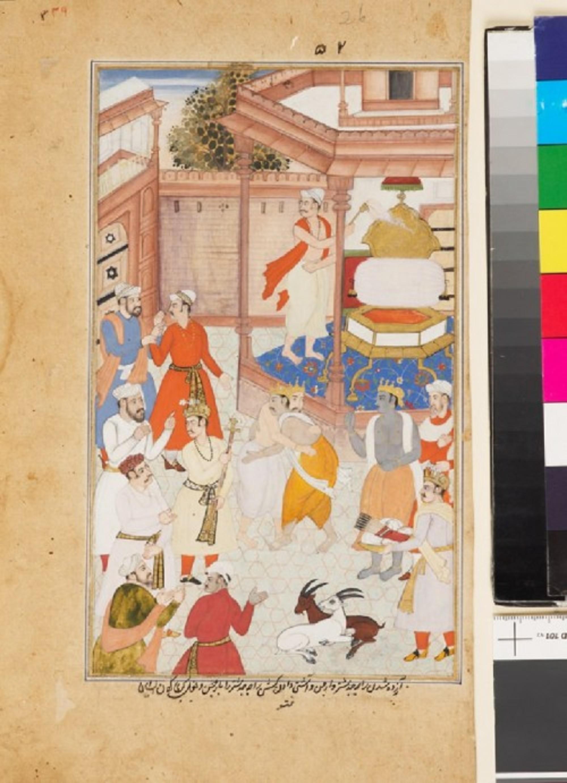 Krishna reconciles Yudhisthira and Arjuna
