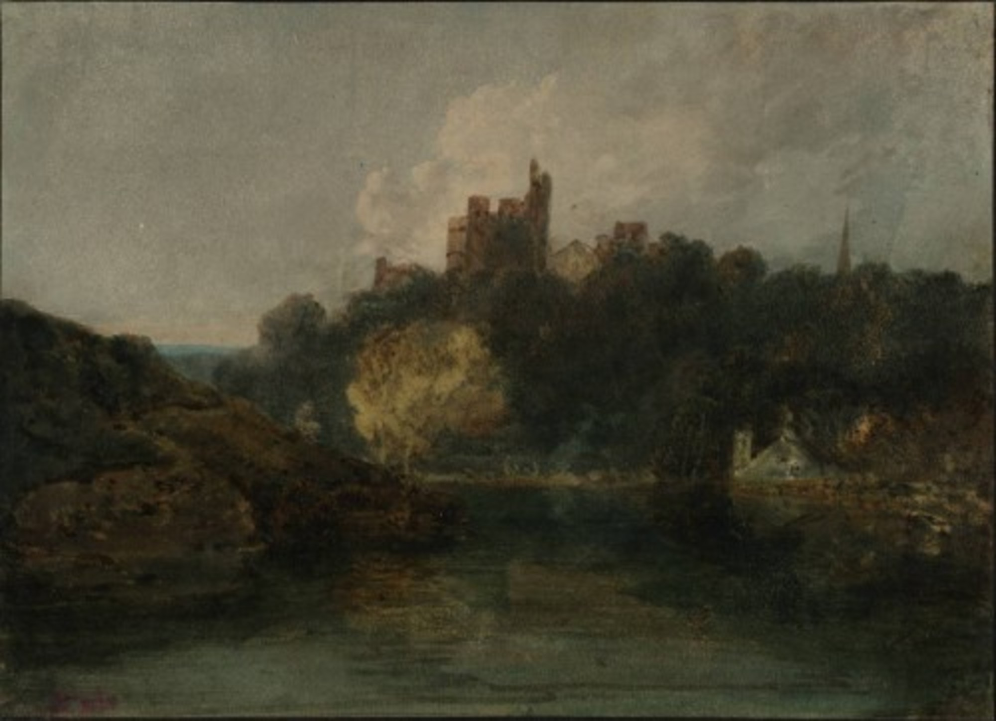 A-Castle-on-a-Wooded-Bank-beside-a-River-A-Church-Spire-to-the-Right-1798-99.jpg