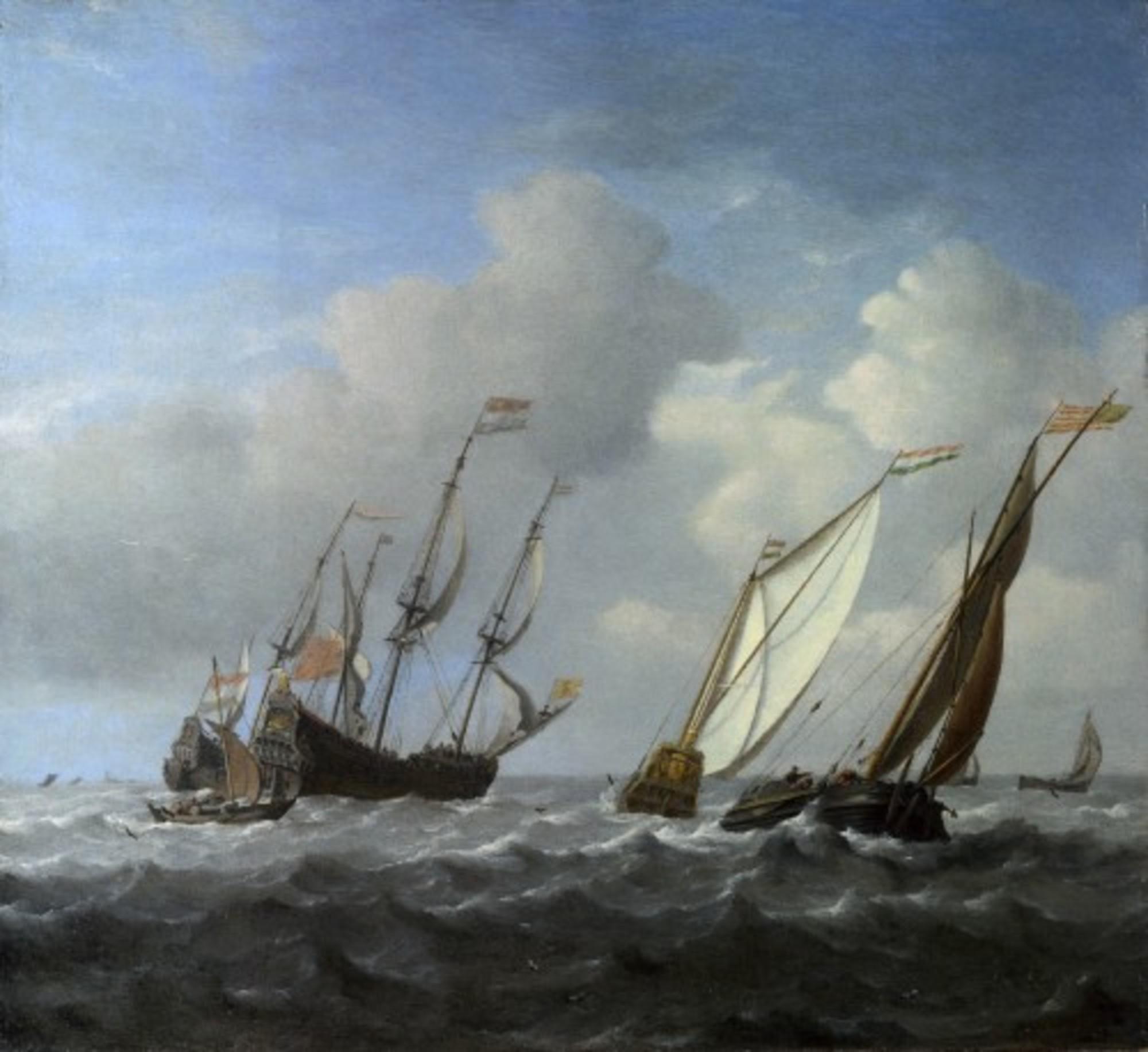 Willem-van-de-Velde-II---A-Dutch-Ship-a-Yacht-and-Smaller-Vessels-in-a-Breeze.jpg