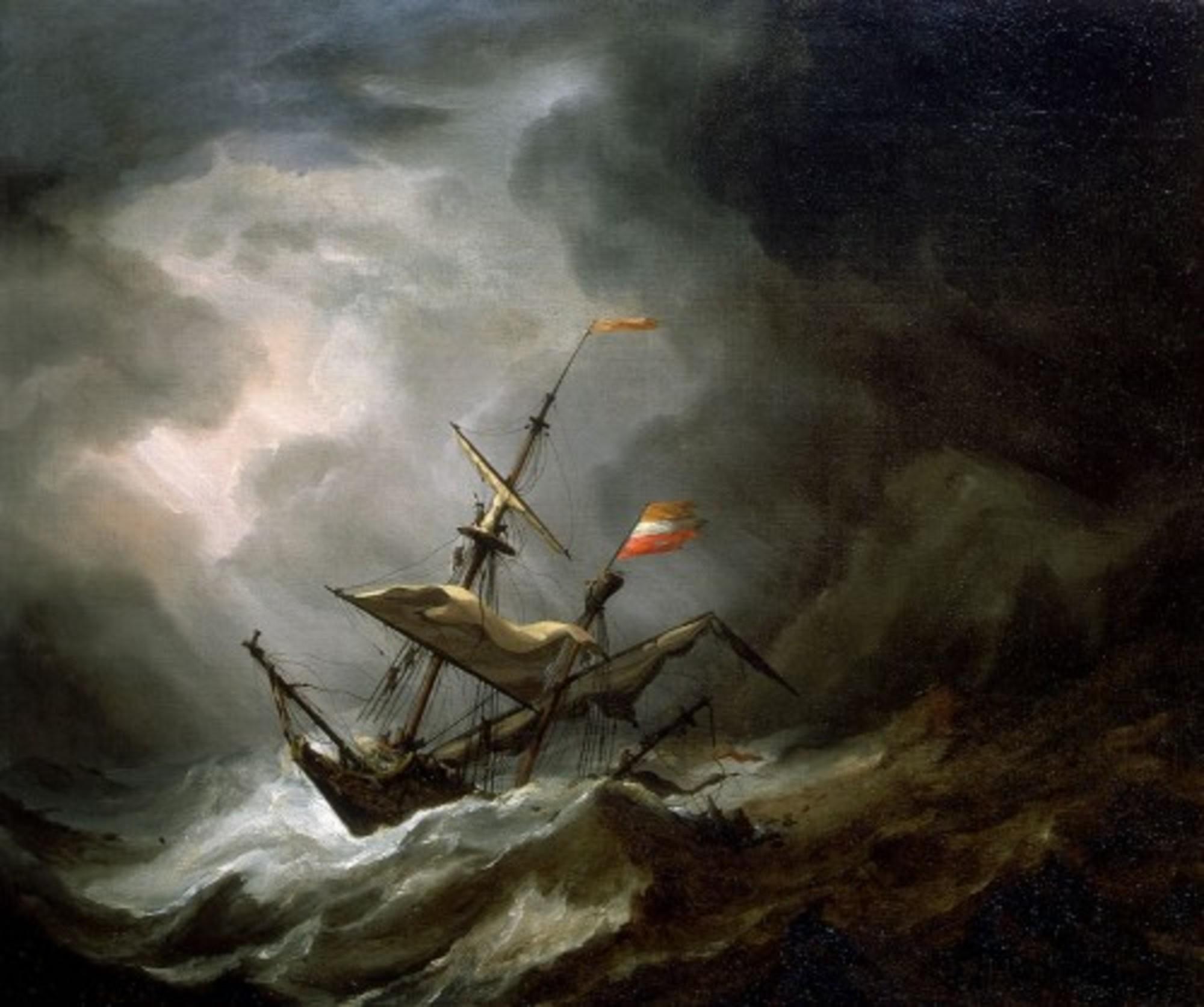 Willem-van-de-Velde-de-Jonge---Een-mediterraan-Brigantine-Drifting-Onto-een-rotsachtige-kust-in-een-storm.jpg