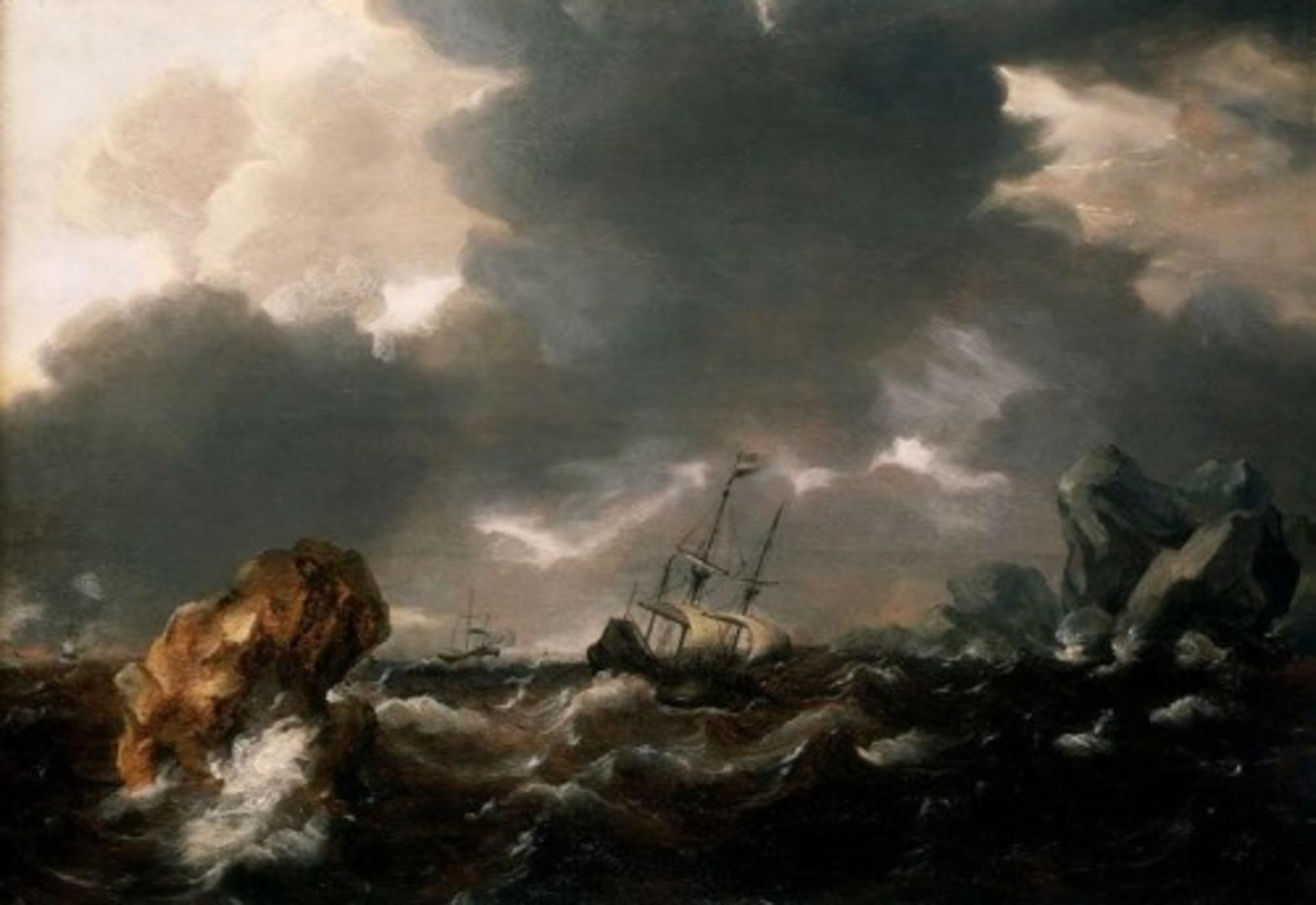 Willem-van-de-Velde-the-Younger---A-Dutch-Merchant-Ship-Running-Between-Rocks-in-Rough-Weather.jpg