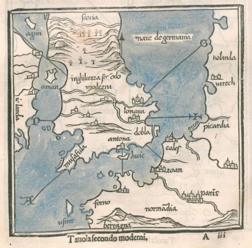 1534 Isolario di Benedetto Bordone Inghilterra tauola secondo moderni